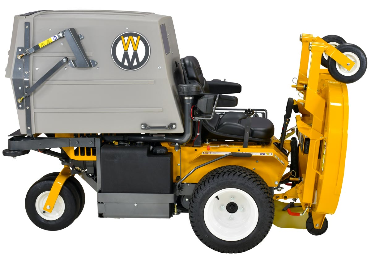 Model MT25i with deck in service position; easy blade maintenance