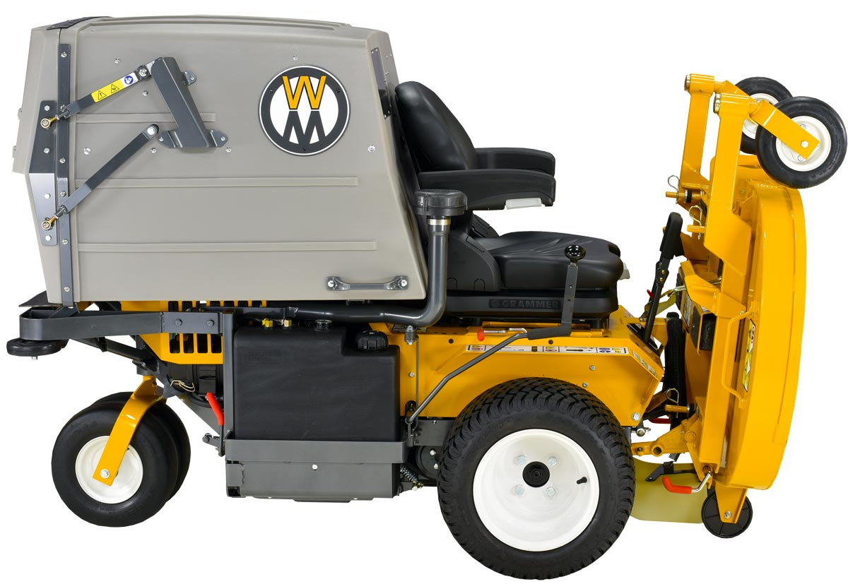Walker Mower MD21 with deck in service position for easy blade maintenance