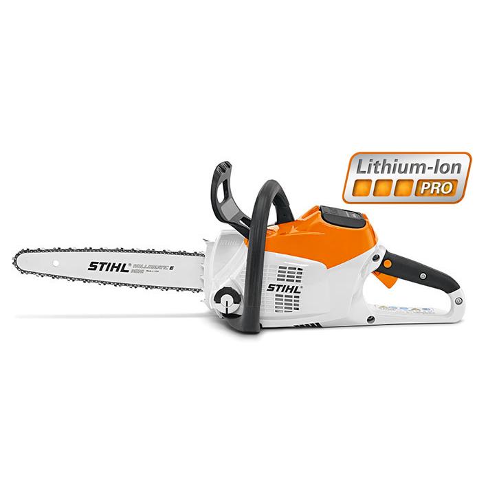 Stihl Battery Chainsaw MSA 200 cutting a block